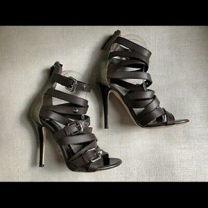 Giuseppe Zanotti Heels Caged Brown Leather Studs